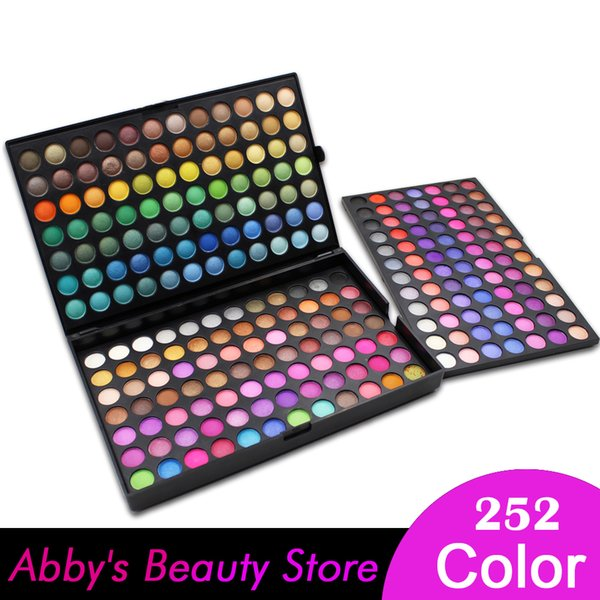 Wholesale-252 Color Eyeshadow Palette Makeup Eye Shadow Make Up Palette kit Maquillaje 3 Layer Shimmer Matte Eyeshadow Palette