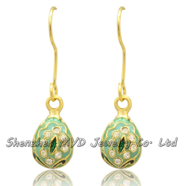 Handmade woman fashion jewelry fancy mini Easter egg crystal Faberge drop earrings color enameled high quality