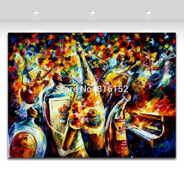 Palette Knife Painting Bottle Jazz Music Carnival Picture Printed On Canvas For Wall Decor Art Carnival Gift