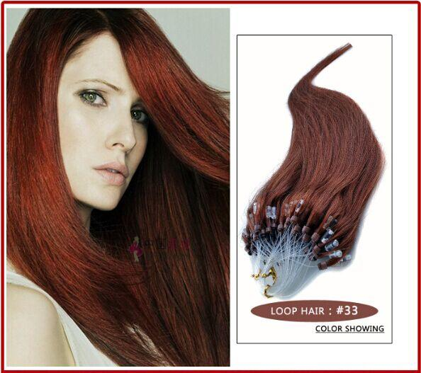 """Wholesale --5A 14""""- 24""""1g/s 100g/pack 33# dark auburn Indian Remy Human Loop Hair Micro Ring Hair Extensions dhl free shpping"""