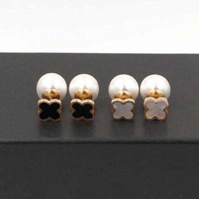 Top Qualität 316L Edelstahl Kleeblatt Ohrstecker natürliche Perle Liebe Ohrringe für Frauen Rose Gold weiß und schwarz Klee Großhandelspreis