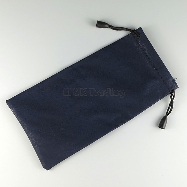 best selling Sunglasses Pouch Navy Blue PU Leather Bags Good Touch Imitation Leather Eyewear Carry Pouches 50 pcs Free Ship