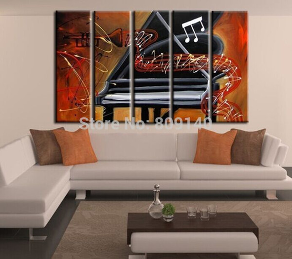 Abstract Piano Music Melody oil painting canvas artwork high Quality handmade home office hotel wall art decor decoration Gift free shipping