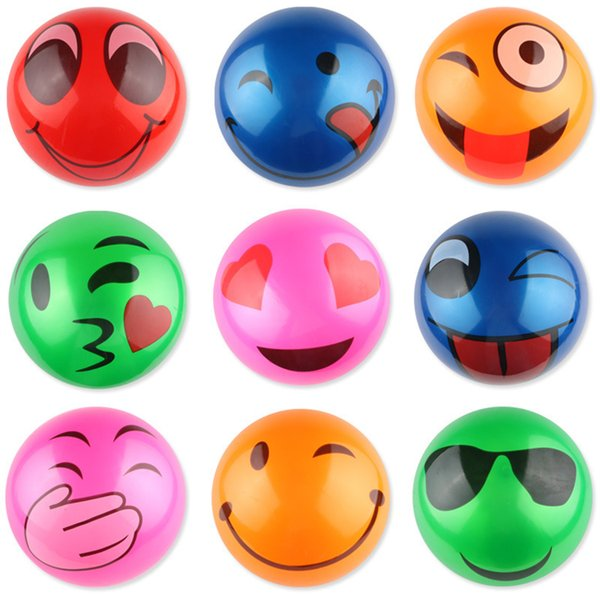 New material PVC 9 inch Inflatable Emoji Beach Ball inflatable toy ball Gag Toys Balloon wholesale F1018