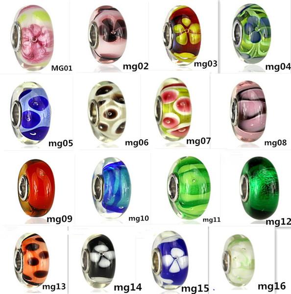 54 tipi argento sterling S925 affascinanti sfaccettati fuoco alto perle di vetro di murano misura l'europa pandora gioielli charms bracciali fai da te pendenti