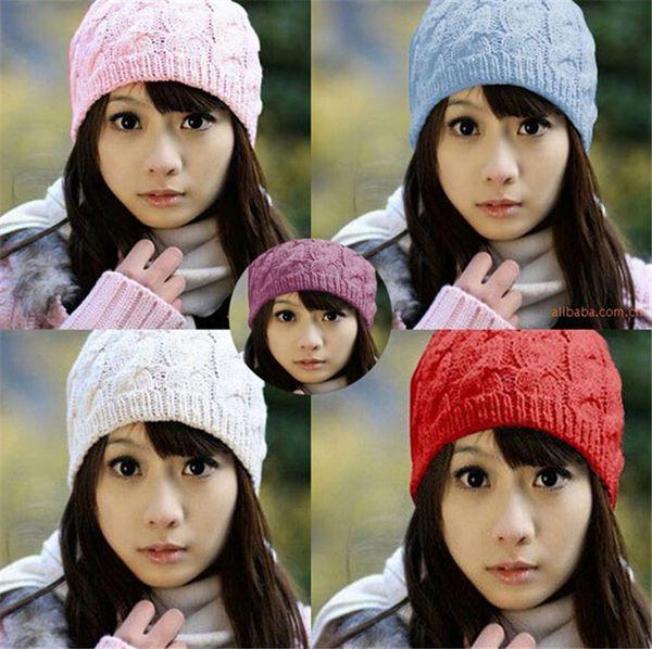 210pcs HOT sale warm hat Women Knit Winter Warm Crochet Hat Braided Baggy Beret Beanie Cap D471
