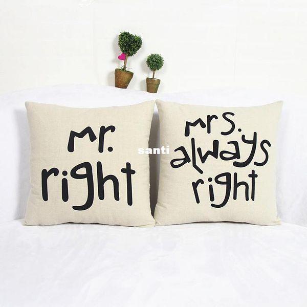 Popular Engraçado Mr Right Mrs Al maneiras Direito Imprimir Blend Cotton Linen Fronha Bed Sofa Capa de Almofada Acessórios Para Casa