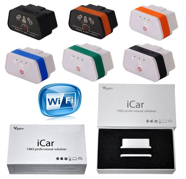 Original Vgate Icar2 Wifi ELM327 WIFI OBD2 Eight Colors OBDII Protocols For IOS IPhone IPad Android PC Torque DashCommand