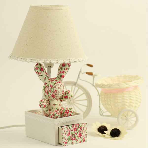 2019 Floral Fabric Pastoral Style Cartoon Rabbit Lamp Children\'S Room,  Bedroom Bedside Lamp, Mini Cartoon Lace Drawer Lamp, Night Light Reading L  From ...