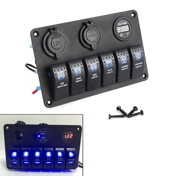 Al por mayor- Rocker Interruptor Panel Breaker 6 Gang a prueba de agua Marine Boat Circuit LED azul AC DC
