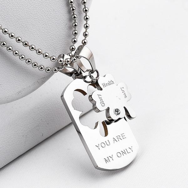 Trevo de quatro folhas colar você é meu amor dog tag trevo conjunta colar de pingentes de moda jóias para mulheres homens vontade e areia 160882