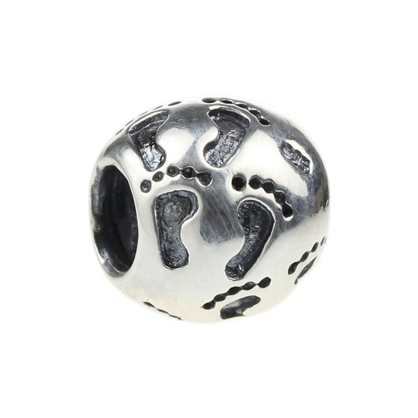 Beads Hunter Jewelry Authentic 925 Sterling Silver New Baby Footprints Charm 925 stamp big hole bead For 3mm European Bracelet snake chain