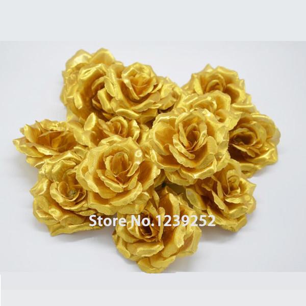 Nova 50 pcs Artificial de Prata de Ouro Subiu Cabeças de Flor de Seda Decoração Para Banquete de Casamento Decorativo Diy Flores De Noiva
