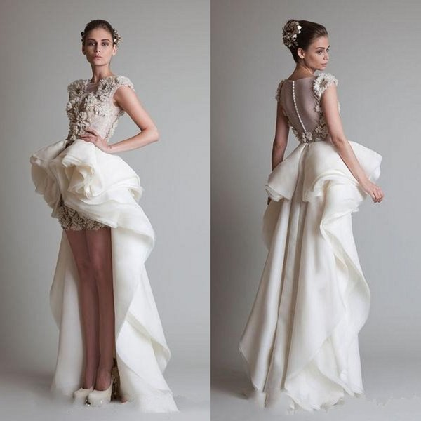 2017 Krikor Jabotian Sexy Elegant High Low Silk Like Satin Wedding Dresses Sheer Covered Button Back Sweep Train Lace Bridal Gowns Appliques