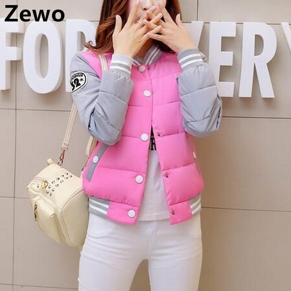 Zewo Winter Parkas Women Basic Coats Jacket Casual Slim Cotton Tops Bomber Jacket Cardigan Coat Down Outwear Blusas Feminina