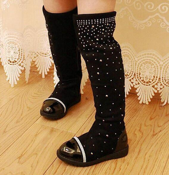 2017 Parent-child shoes princess elegant rhinestone girl high-leg boots children's snow child ever after high boots free shipping