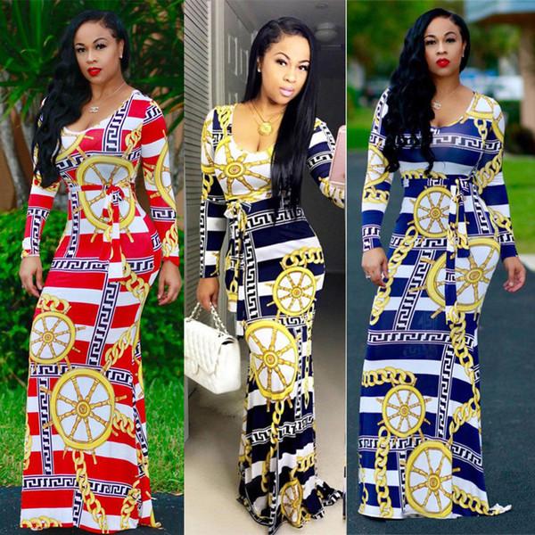 Großhandel Afrikanisches Design Kette Druck Striped Maxi Kleid 2017 ...