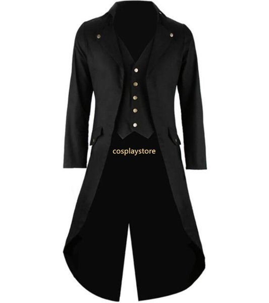 Men's Gothic Tailcoat Jacket Steampunk Trench Cosplay Costume Victorian Coat Black Long Coat Men's Tuxedo Suit Halloween Party