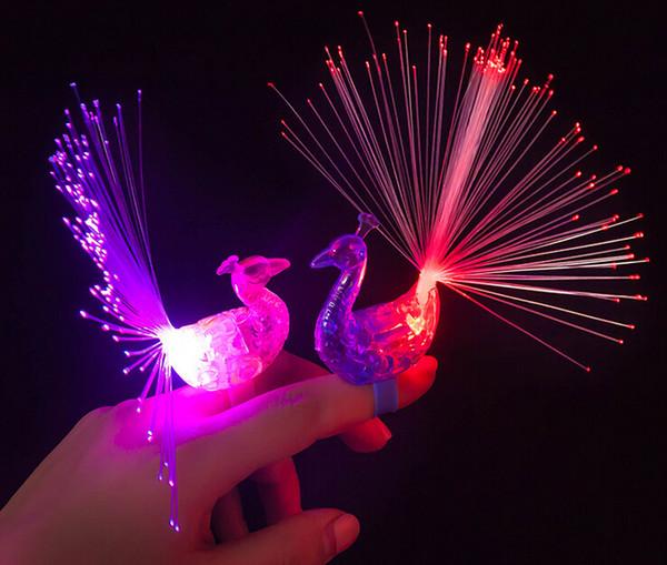 200PCS LED Flash Rings LED Light Up Peacock Finger Toys for Kids Finger Lights for Children Birthday Party Festival Atmosphere Light Toys