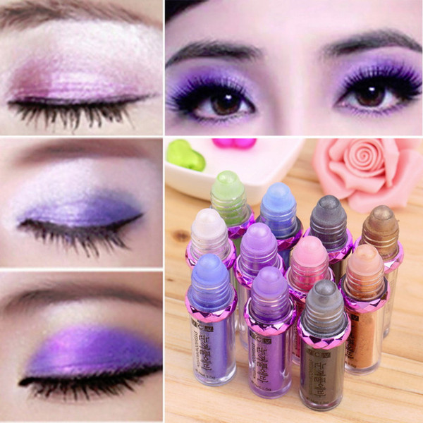 Wholesale- Hot Sale Makeup 11 Colors Eyeshadow Natural Luminous Warm Color Make Up Ball Glitter Fluorescence Eye Shadow Powder V344# 1Pcs