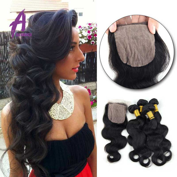 7A Brazilian Virgin Hair With Closure Cheap Body Wave 4 Bundle With Silk Closure Ali Queen Hair Silk Base Closure With Bundles