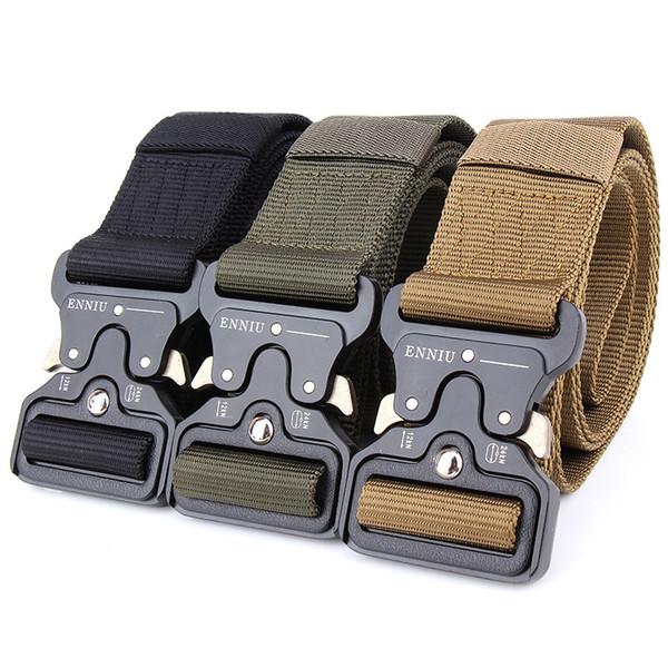 Cintura di tela degli uomini all'ingrosso di alta qualità fibbia inserto in metallo Cintura di addestramento di nylon Cinture tattiche dell'esercito per gli uomini, può essere su misura