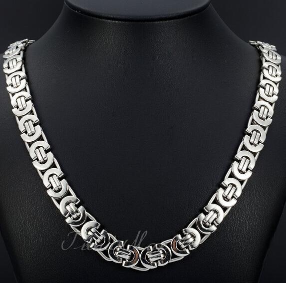 Mode Nouveau Style Bohème Bijoux 8mm 24 '' Argent En Acier Inoxydable plat byzantine Curb Link Collier Chaîne pour Amis vacances cadeaux en vente