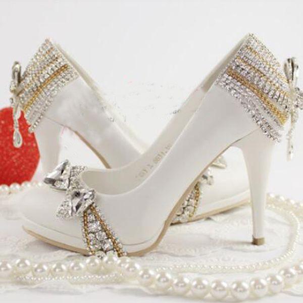 9c09671f20 2016 primavera e verão estética branca sapatos de noiva de cristal  cinderela sapatos festa de casamento