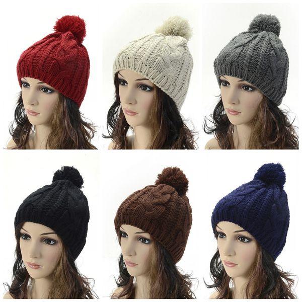 Men Women Wool Knitting Beanie Acrylic Fibres Hemp Cap With Hair Ball Keep Warm Hats Factory Direct Sale 7 6bd B