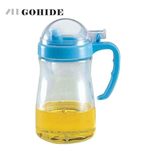 Wholesale- GOHIDE bottiglia di olio 550ml bottiglia di vetro aceto salsa di soia condimento pentola a prova di perdite Salute stoviglie oliatore di vetro Colore in ordine casuale