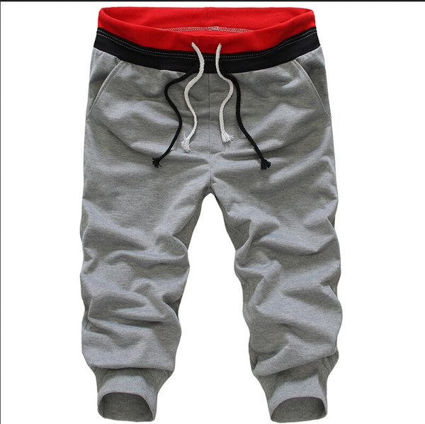Wholesale-2015 Summer Hot Casual Loose Man Sports Capri Cropped Harem Sweatpants Jogger Trousers Harem Hip Hop Shorts Plus Size M/L/XL/XXL