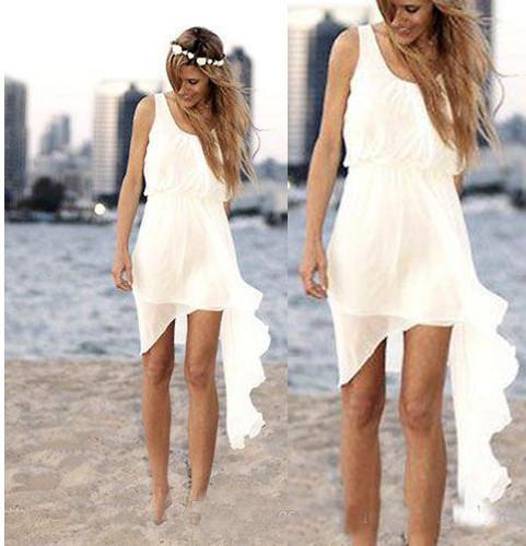 2019 Ivory Chiffon Cheap Short Beach Wedding Dresses Simple Asymmetrical Design Scoop Neck Bridal Gowns Summer Casual Skirt