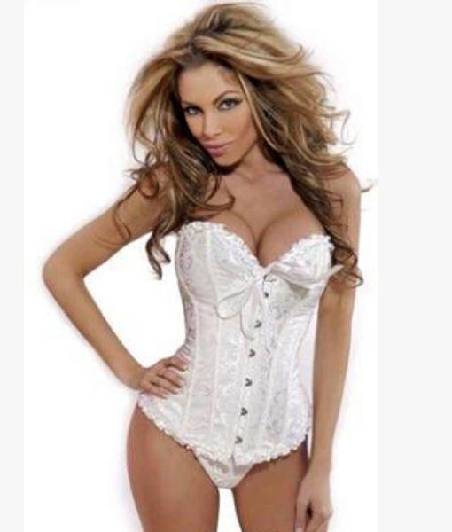 Hot Sexy Women's Corset Bustier Tops Bra Lace Up Plus Size Boned Waist Cincher Slim Floral Bustier Lingerie girdles Women Clothing