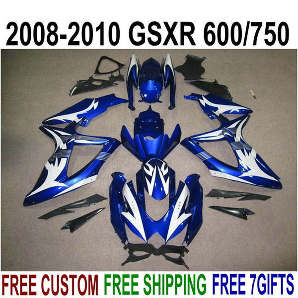 High quality bodywork set for SUZUKI GSXR750 GSXR600 2008-2010 K8 fairings K9 GSX-R600/750 08 09 10 white blue fairing kit KS79