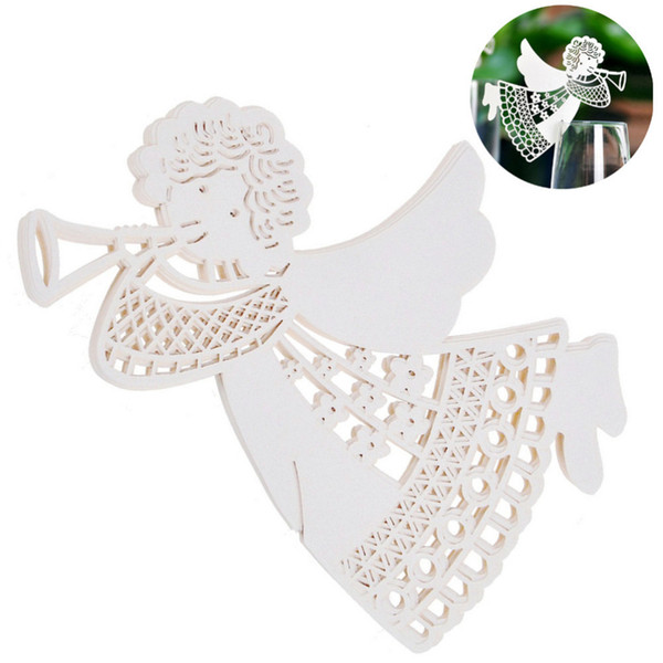 Wholesale- New DIY Flying Angel Laser Cut Wine Glass Cup Paper Card Table Place Name Cards For Wedding Birthday Party Home Decoration 50Pcs