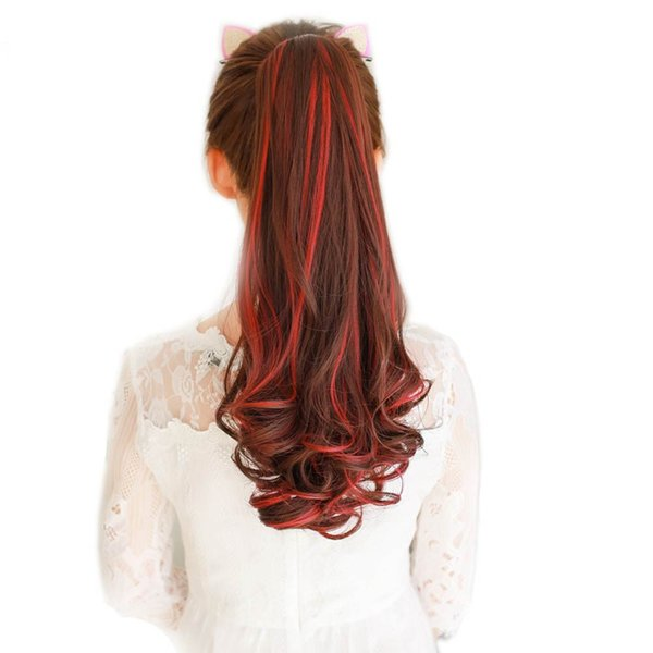 22 inch Highlight Colored Synthetic Ponytail Long Wavy Ponytail Fake Hair Pieces High Temperature Fiber Hair
