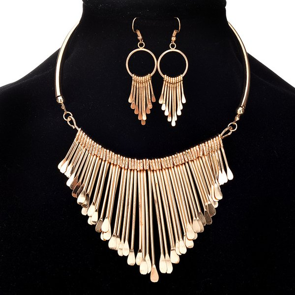 classic golden necklace earrings jewelry sets for women elegant party gift fashional accessory 1set free shipping