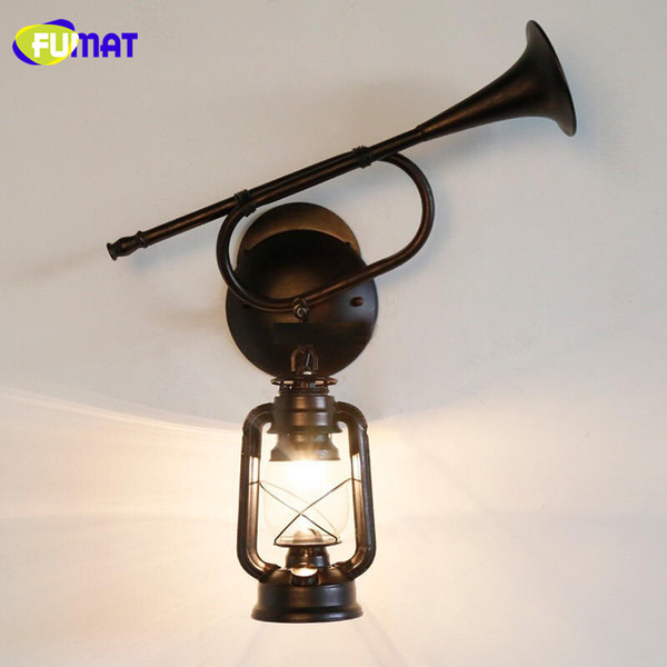 FUMAT Wall Lamps Vintage Horn Wall Light Fixture Antique Classic Metal Kerosene Lamp Retro Glass Hanging Lantern Wall Lamp