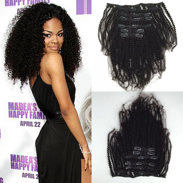 Kinky curly Clip in Chinese human hair virgin human hair extensions 7pcs 120g kinky curly clip in human hair extensions for black women