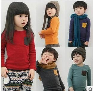 top popular Wholesale Children Long Sleeve T-shirts Pocket Candy Color Thick Cotton T-shirts For Boy Girl 15008 2020