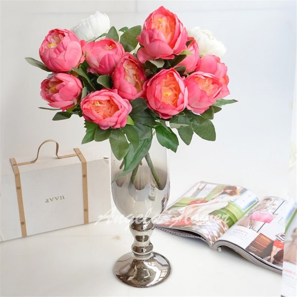 wholesale Artificial real look high quality silk peony Flowers 11 color mix decorative Birthday Party Wedding Home vase