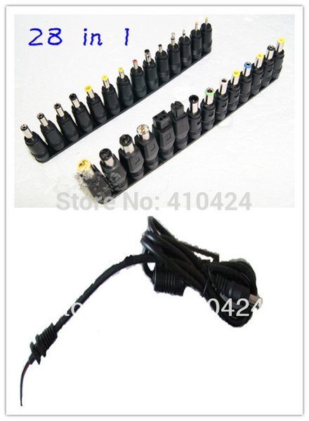 Free shipping ! 28 pcs/lot Universal AC DC Jack Charger Connector Plug for Laptop /Notebook AC DC Power Adapter with Cable order<$18no track