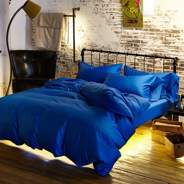 Royal blue duvet Egyptian cotton bedding sets doona cover bed sheets king queen size bedsheet bedspread linen solid color Luxury spread