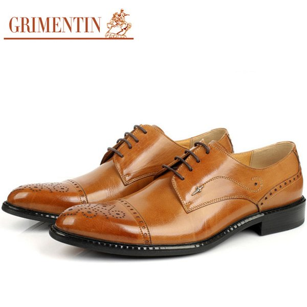 GRIMENTIN Hot Sale Mens Oxford Shoes Fashion Designer Pointed Toe Mens Dress Shoes Genuine Leather Wedding Party Formal Business Male Shoes