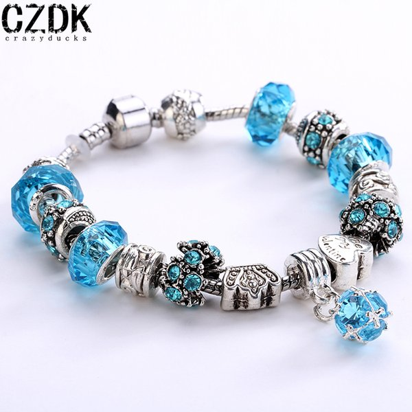 top popular 12 colors 925 Silver Field of Daisies Murano Glass&Crystal European Charm Beads Fits European Style Bracelets AA01 2019