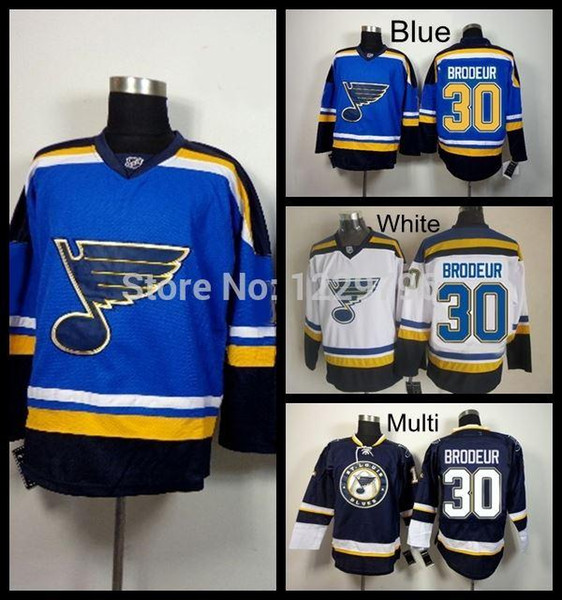 2015 St.Louis Blues Hockey Jerseys #30 Martin Brodeur Jersey New Home Blue Team Color White Cheap Martin Brodeur Stitched Jersey