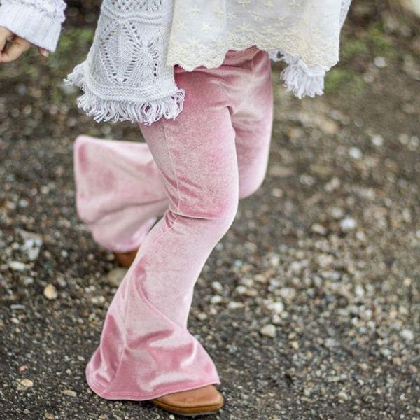 2019 Ins Girl's Pantaloni a zampa di elefante Leggings per ragazza Pleuche Pantaloni per bambini Pantaloni Solid vino rosso Slim Collant Autunno Primavera 1-5 anni