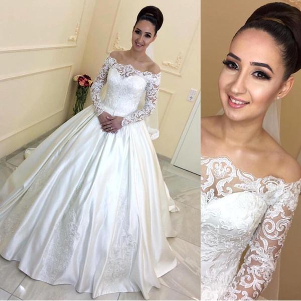 Cetim Marfim Elegante A Linha De Vestidos De Casamento 2018 Vintage Fora do Ombro Sheer Mangas Compridas Rendas Vestidos De Noiva Barato Vestidos de Casamento BA7381
