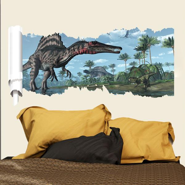 50 * 90cm dinosaures Flam Stickers muraux stickers papier peint Art de bande dessinée Stickers muraux amovibles enfants Animaux Nursery enfants Décor