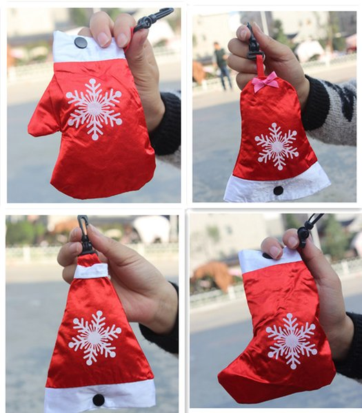 best selling 2015 Polyester Cute Christmas Shopping Bag Reusable Eco-Friendly Shopping Tote Portable Folding Foldable Bags pouch handbag Free Shipping